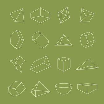 Набор минимальных геометрических фигур на зеленом фоне