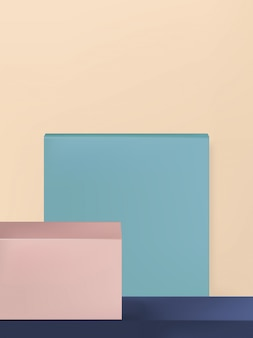 Minimal geometry product display background or platform, beige, light blue & beige, portrait
