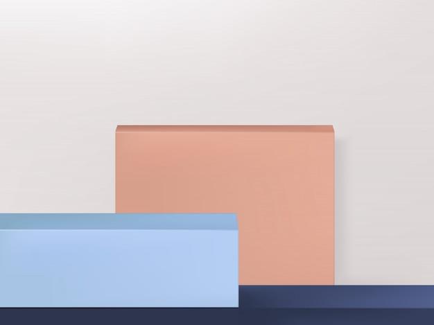 Minimal geometry product display background or platform, pink, blue & light gray, landscape