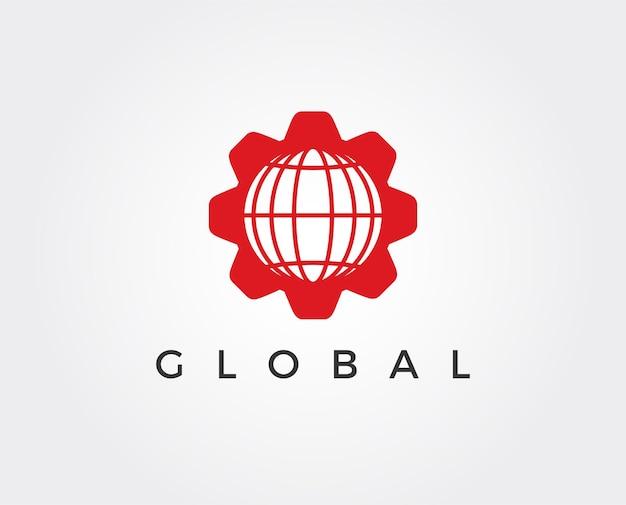 최소한의 글로벌 기어 로고 템플릿