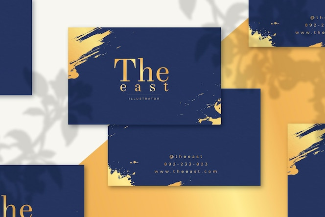 Minimal golden business cards pack