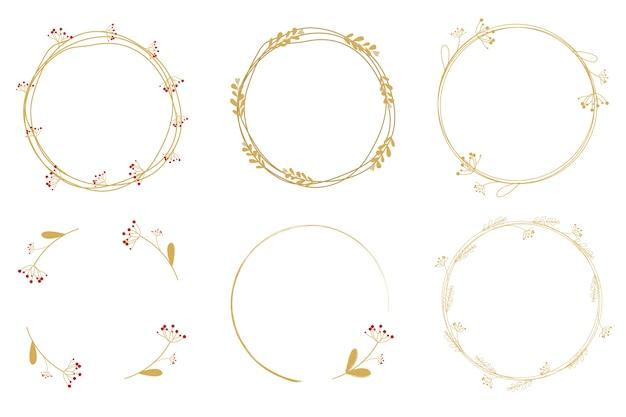 Minimal golden dandelion wreath frame collection