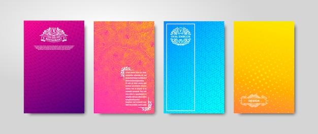 Минимальный градиентный дизайн обложки и цветные геометрические узоры с линейной текстурой