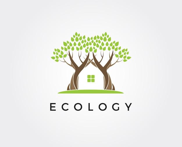 最小限の緑の家のロゴのテンプレート-イラスト