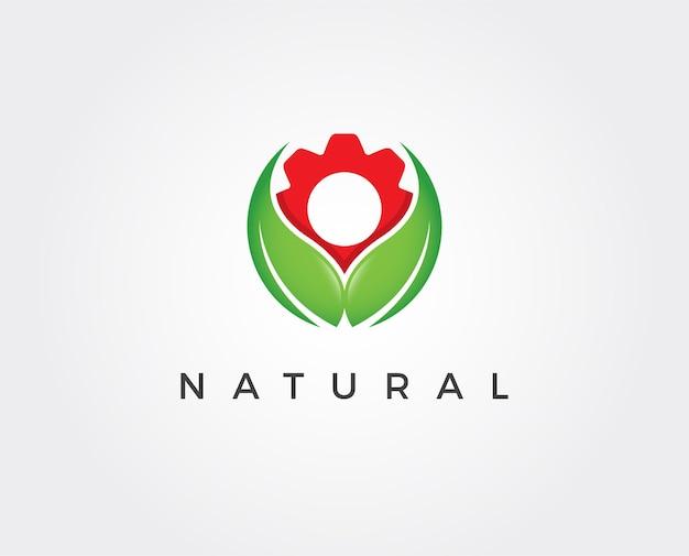 Minimal green leaf logo template
