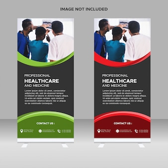Minimal green roll up banner templates