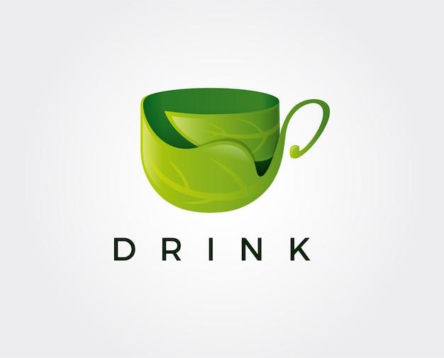 Минимальная иллюстрация шаблона логотипа зеленого чая