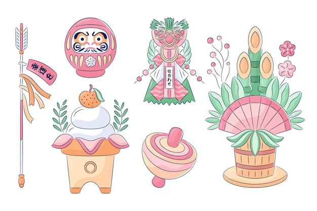 최소한의 손으로 그려진 oshogatsu 요소 컬렉션