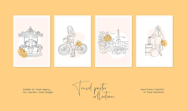Минимальная рисованная векторная иллюстрация путешествия для настенного искусства или дизайна плаката