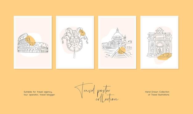벽 예술 또는 포스터 디자인을 위한 최소한의 손으로 그린 여행 벡터 일러스트 세트
