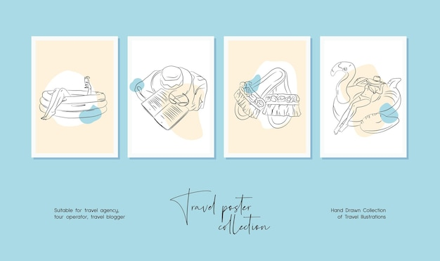 Minimal hand drawn travel vector illustration set for wall art or poster design