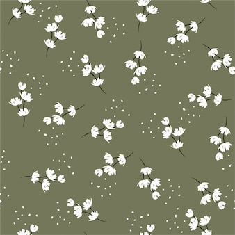 Minimal hand paint brush white floral seamless repeat pattern with small flowers