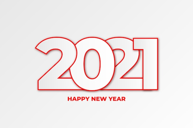 Minimal happy new year background with line numbers