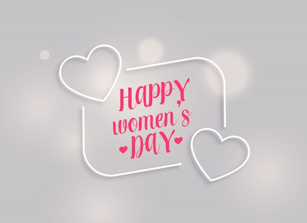 Minimal happy women's day background with line hearts