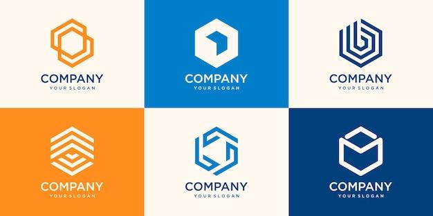 最小限の六角形のロゴデザイン
