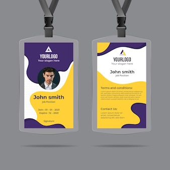 Minimal id card template with abstract shapes