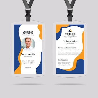 Minimal id card template with shapes
