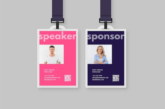 Minimal id cards template with picture