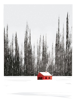 Minimal illustration of countryside landscape in winter