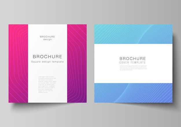 The minimal illustration of editable layout of two square format covers design templates for brochure, flyer, magazine. abstract geometric pattern with colorful gradient business background.