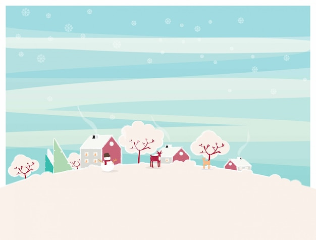 Minimal  illustration of urban city landscape in winter.