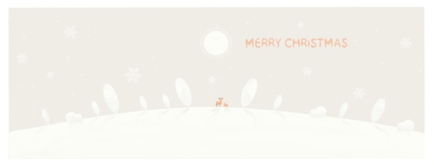 Minimal illustration of winter background. snow mountain with pine tree with dear.