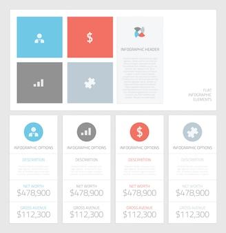 Minimal info graphic flat business elements vector illustration