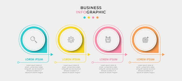 Minimal infographic circle label design business vector template with icons and 4 options or steps can be used for process diagram presentations workflow layout banner flow chart info graph