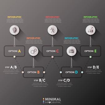 Минимальный инфографический шаблон процесса
