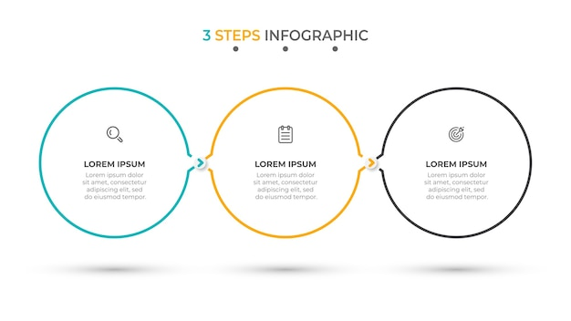 最小限のインフォグラフィックテンプレート3オプションまたはステップ