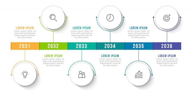 番号6のオプションまたは手順で最小限のインフォグラフィックテンプレートデザイン。