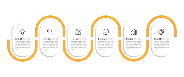 Minimal infographic template design with numbers 6 options or steps.
