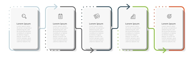 아이콘 및 5 가지 옵션 또는 단계가있는 최소 인포 그래픽 얇은 라인 템플릿 디자인