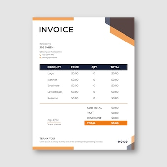 Minimal invoice template design