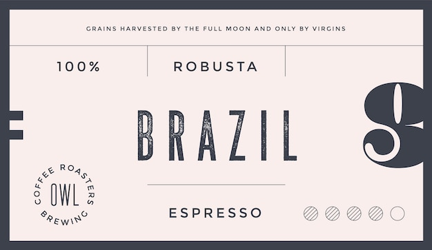 Minimal label. typographic modern vintage label, for coffee brand, coffee packing
