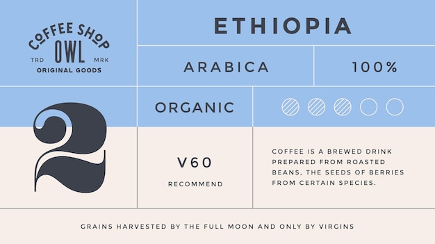 Minimal label. typographic modern vintage label, tag, sticker for coffee brand, coffee packing.