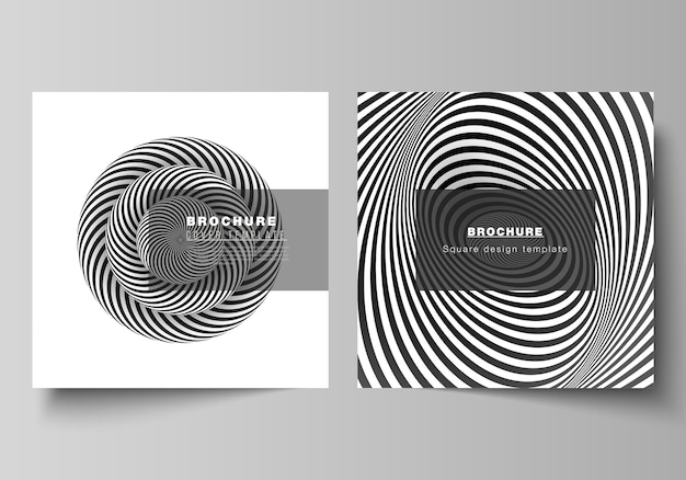 The minimal layout of two square format covers design templates for brochure, flyer, magazine. abstract 3d geometrical background with optical illusion black and white design pattern.