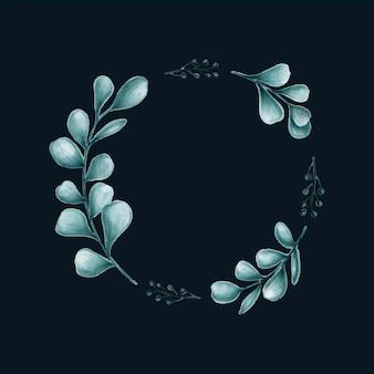 Illustrazione di cornice di foglie minimal