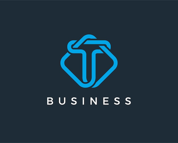 Минимальная буква t логотип шаблон