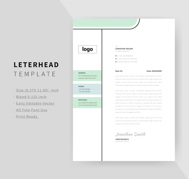 Minimal letterhead design template for business