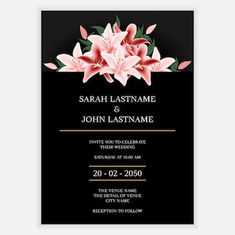 Minimal lily floral wedding invitation card