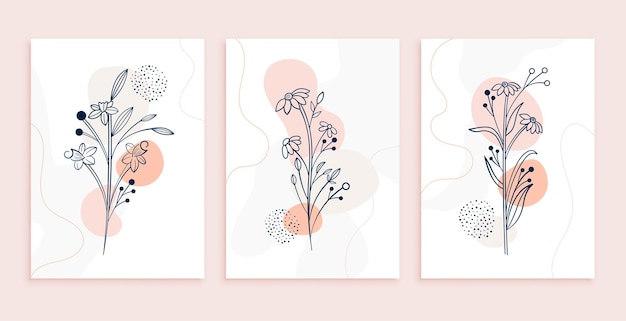 Minimal line art flowers and leaves poster design