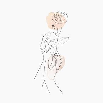 최소한의 라인 아트 손 벡터 꽃 베이지색 파스텔 미적 그림