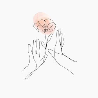 최소한의 라인 아트 손 벡터 꽃 오렌지 파스텔 미적 그림