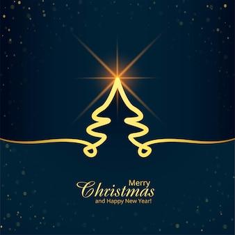 최소 라인 크리스마스 트리 카드