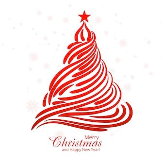 Minimal line christmas tree card