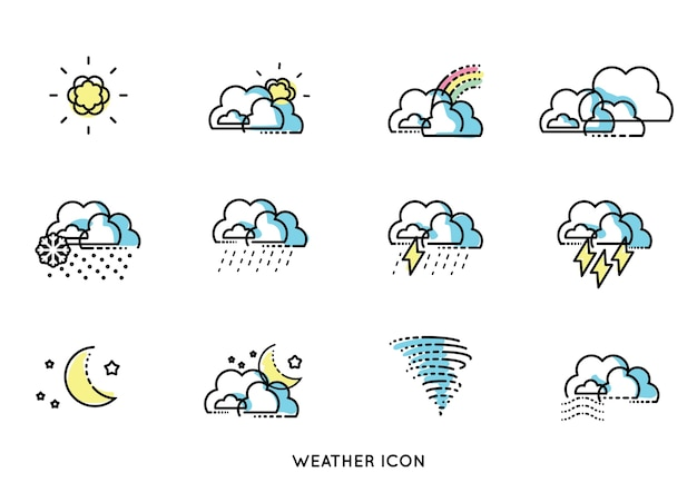Minimal line forecast weather icon vector