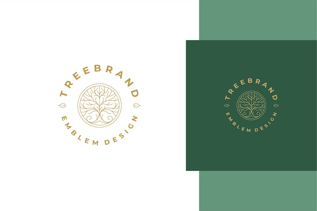 Minimal of linear style emblem template design with elegant ornamental tree in circle created for natural product packaging line style