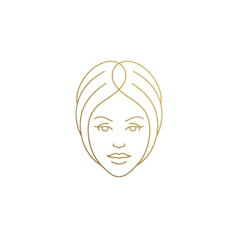 Minimal linear style emblem template woman face with beautiful hair hand drawn with golden lines