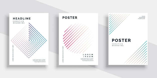 Minimal lines book cover template set